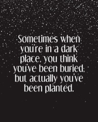Sometimes when you're in a dark place, you think you've been buried; but actually you've been planted.
