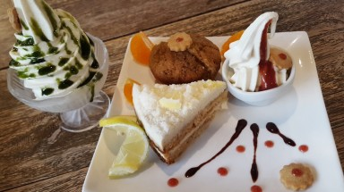 Soy Soft Serve, lemon cake, and muffin